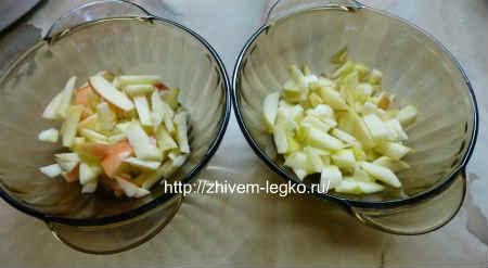 Десерт из фруктов_нарезать яблоки