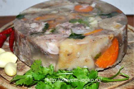 Рецепт холодца из свиных ножек мужужи_холодная закуска