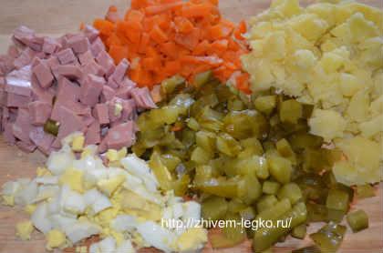Как приготовить салат оливье_ нарезать продукты кубиками