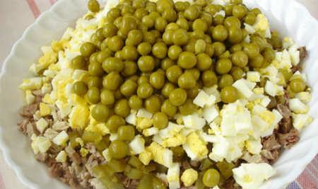 Оливье- рецепт с фото, как вкусно приготовить_засыпаем зеленый горошек