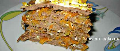 Печёночный торт, рецепт с фото пошагово_кусочек торта