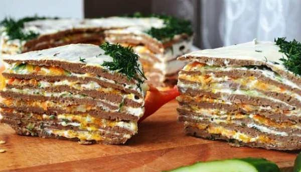 Торт печеночный, вкусный рецепт с фото_пошагово