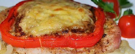 Свиные отбивные с грибами и сладким перцем пошаговый фоторецепт_с сыром