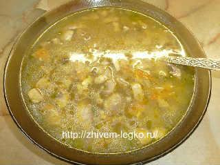 Грибной суп из шампиньонов с плавленным сыром_суп налит в тарелку