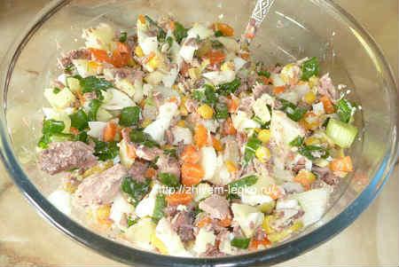Салат с тунцом консервированным рецепт простой-продукты сложить в миску