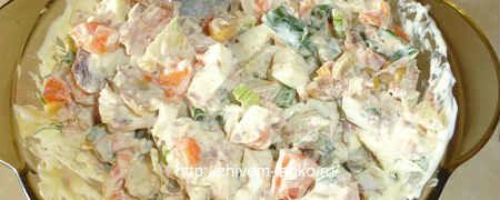 Салат с тунцом консервированным рецепт простой_заправить майонезом