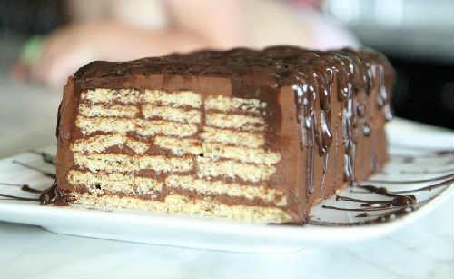 Торт из печенья без выпечки с творогом_рецепт