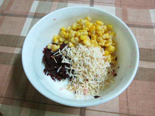 Рецепт легкого праздничного салата_добавить сыр, чеснок, кукурузу