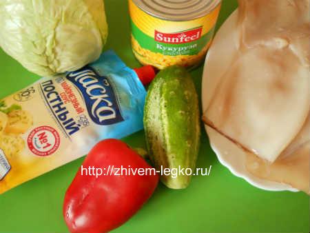 Салат с вареными кальмарами_рецепт