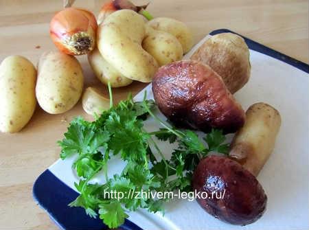 Грибы в сметане на сковороде_продукты
