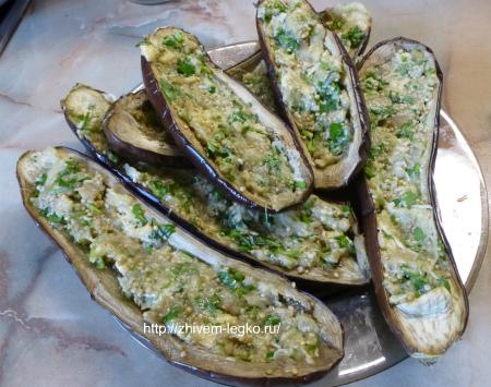 Баклажаны фаршированные, запеченные в духовке_готовое блюдо