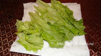 Салат из слабосоленой семги_вымыть листья салата