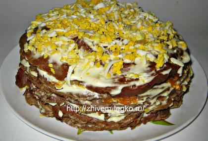 Печёночный торт, рецепт с фото пошагово_украсить вареным яйцом