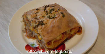 Рецепт лазаньи с фаршем с фото пошагово_готовая лазанья