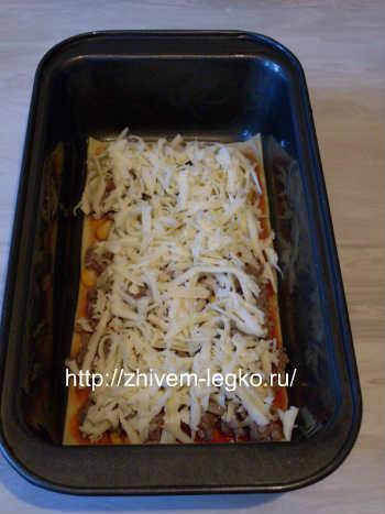 Рецепт лазаньи с фаршем с фото пошагово_посыпать сыром