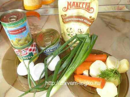Салат с тунцом консервированным рецепт простой_перечень продуктов