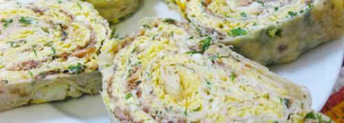 Рулет из лаваша с консервированной рыбой_и сыром