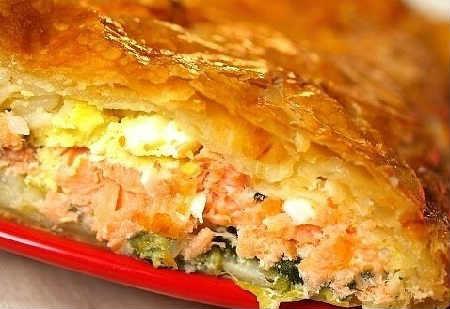Заливной пирог с рыбными консервами_на сметане